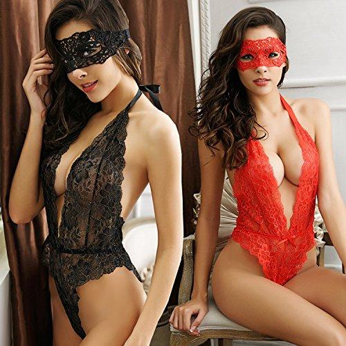 Yuson Girl® Unterwäsche Damen Lingerie Bei Nacht für Frauen Babydoll Spitze Nachtwäsche Dessous Sets Damen Dessous Sexy Schwarz