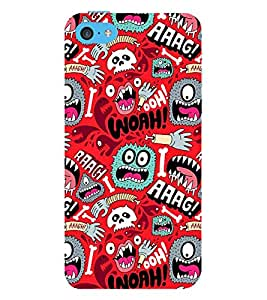 ANIMATED MONSTERS IN A RED BACKGROUND 3D Hard Polycarbonate Designer Back Case Cover for Apple iPhone 5C