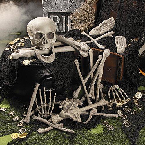 Halloween Skelett Totenkopf Knochen-Teile 28 Stück je Beutel für Horror-Party mit Palandi® (Skelett Teile)
