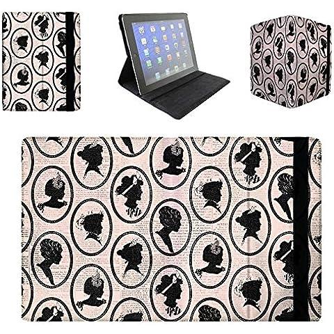 Queen of fundas de funda tipo libro para Apple iPad Mini 2 y 3 funda con tapa Cameos - Premium - parisino Chic color