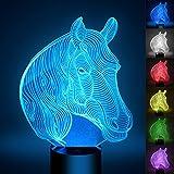 Pferdekopf 3D Optische Illusions-Lampen, FZAI Tolle 7 Farbwechsel Acryl berühren Tabelle Schreibtisch-Nachtlicht mit 150 cm USB-Kabel für Kinder Schlafzimmer Weihnachten Geburtstagsgeschenke