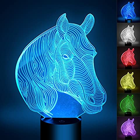 Cheval 3D Lampes Illusions Optiques, FZAI Amazing 7 Changing Colors