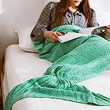 Geschenk für Mädchen Frauen, Wuiyepo Meerjungfrau Decke für Cosplay, Wrap Decke Fancy Dress Schlafsack, Schlafende Tasche, Klimaanlage Schlafsack (Hellgrün)