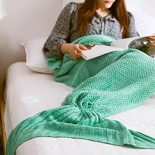 "Le-Dafei Meerjungfrau Decke Strickmuster Decke Meerjungfrau Schwanz Decke Kinder und Erwachsene Stil,Adults Style (73""*35"", Grün)"