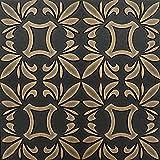 Dipinto a mano in polistirene espanso soffitto piastrelle Retro 112in oro, colore: nero, 500 x 500 mm