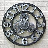 fwerq Gear Clock Personalisierte Uhren Industrial Wind Mute Retro Kreative Clock Wandbehänge Kunst Uhr Holz- Technologie 58 cm Mode (Farbe: B)