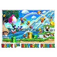 Edible A4 Super Mario Icing Personalised Cake Topper