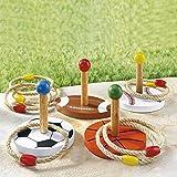 Ring-Wurfspiel, 12 Teile, Freizeitspaß Gartenspiel mit Ringen Geschicklichkeitsspiel, 4 Spielstäbe aus Holz