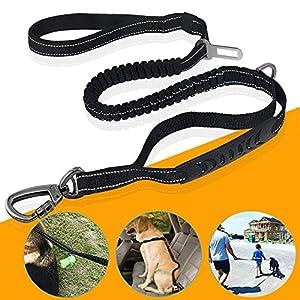 Feeleye Laisse pour chien, Dressage de chien Laisse 1,8m solide en nylon Laisse à fils hautement réfléchissant pour chiens de taille moyenne et grande Chien de voiture Ceinture de sécurité, parfait pour l'entraînement Marche Course à Pied