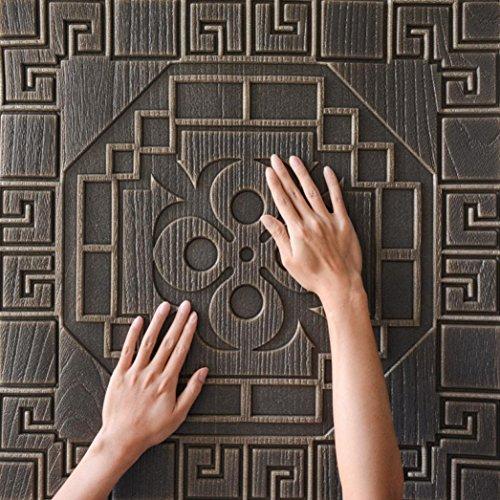 EARS Wallpaper 3D Brick Wall Sticker selbstklebende Schaum Tapete Panels Zimmer Aufkleber Home Decor Wall Paper Custom Your Own Personalised Wallpaper Mural Bathroom Living Room Kitchen (Kaffee) -