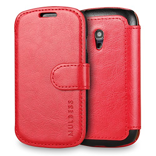 Custodia Galaxy S3 mini - Cover Galaxy S3 mini - Mulbess Custodia In Pelle Con Flip Cover Per Samsung Galaxy S3 mini Custodia Pelle Vino Rosso