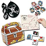 Piratenparty Mitgebsel Set A mit 80 Teilen Schatzkiste Schatzkarte Ballons Fingerpuppen Palandi®