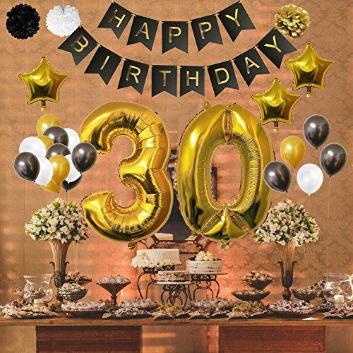 Globos Cumpleaños Happy Birthday #30 Suministros y Decoración por Belle Vous Set 32 Piezas Globo Grande Aluminio de 30 5cm 30 Años Globos De Látex Dorado Blanco y Negro Para Adultos