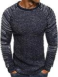 OZONEE Herren Pullover Strickjacke Stricken Sweater Sweatshirt Camouflage Madmext 2035 DUNKELBLAU L