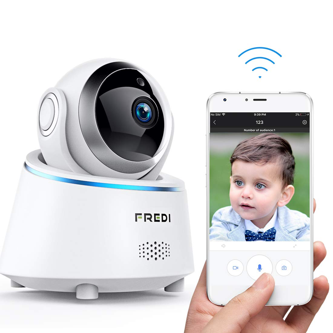FREDI Wifi Security Camera,Wireless Baby monitor Camera 1080P,Security Ip Camera For Home,Dog Camera Monitor With Two…
