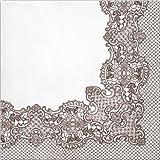 Decorline- 20 Papierservietten Royal Lace (Braun)-33x33 cm-3 lagig