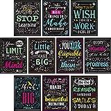 10 pezzi Motivational Classroom Wall Poster Inspirational Quotes Positive Poster for Students - Insegnante educativo Decorazioni in classe 12 x 16 pollici Cartone con punti di colla