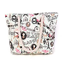 Wewod Transparent Mode Shopper Bags Large Capacity Beach Bags With Seal Pattern (White)