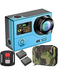 GreatCool 4K Actionkamera Dual-Bildschirm-Design Wireless-Fernbedienung Camera Wasserdicht mit 2 Verbesserten Batterien und kostenlose