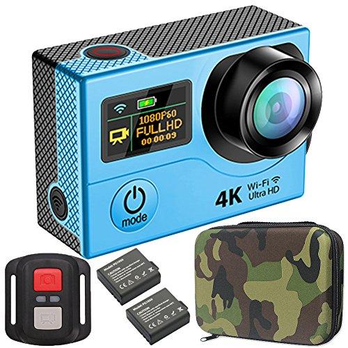 GreatCool Action Cam 4K Wifi Dual-Bildschirm Wireless-Fernbedienung Camera Kamera Wasserdicht mit 2 Verbesserten Batterien und kostenlose Accessoires