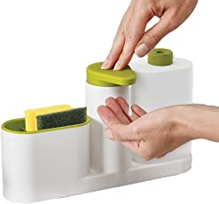 Ozoy 3 IN 1 Sink Tidy Set Stand for Kitchen & Bathroom Sink Storage Organizer Soap Holder with Liquid Dispenser Kitchen Sink Organizer for Dishwasher Liquid, Brush, Cloth, Soap, Sponge, etc. Kitchen Sink Base Caddy Self Sink Drainer Dishwasher Sanitizer Liquid Dispenser & Sponge Holder Sink Organizer, Sink Stand, Cutlery Drainer, Brush And Sponge Keeper, Self Draining Sink Tidy with Suction Cup Organizer Brush Sponge Cleaning Cloth Holder