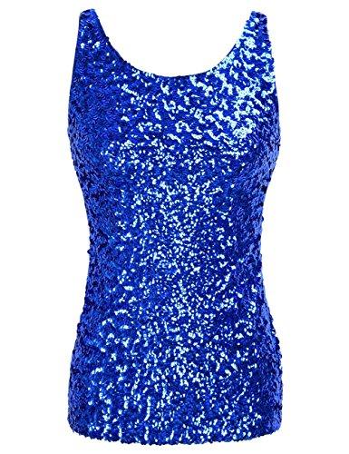 Blau Kostüm Glitter - kayamiya Damen 1920er Jahre Glitter Pailletten Weste Tank Tops 36-38 Blau