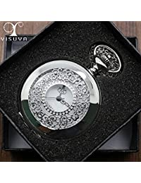 ShopyStore New Arrival Silver Half Hunter Quartz Movement Pocket Watch With Necklace Chain Analog Be