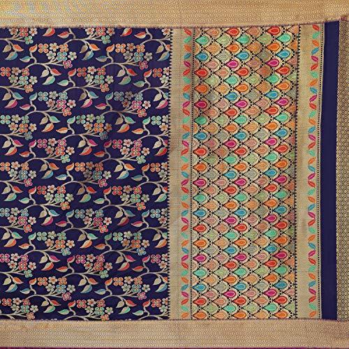 Cotton Shopy Kanjivaram Art Silk Blend Floral Saree with Blouse Piece (Dark Blue)