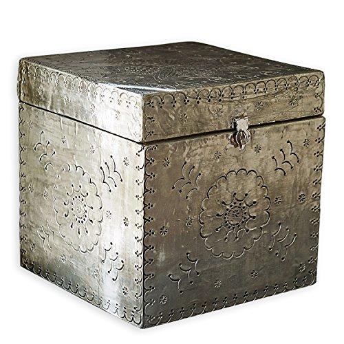 Loberon Box Célya, Mangoholz, H/B/T ca. 20/20 / 20 cm, Silber
