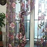 Window Curtain Flower Print Sheer Pattern Voile Valances Wine 100x200cm
