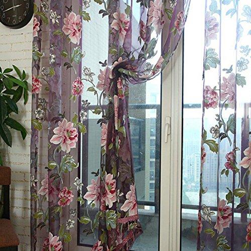 La Cabina Rideau Voilage Chambre Style Chic Floral Tulle Voile Rideau de Fenê