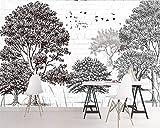 HONGYAUNZHANG Moderne Schwarz Und Weiß Bäume Benutzerdefinierte Fototapete 3D Stereoskopischen Wandbild Wohnzimmer Schlafzimmer Sofa Hintergrund Wandbilder,170Cm (H) X 250Cm (W)