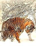 Fantasy Notizbuch: Tiger im Schnee - weiße Seiten mit Eckmotiv