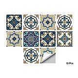 Alwayspon Plaza de Vinilo Azulejos, Auto Adhesiva Pared de la Etiqueta engomada del azulejo para la decoración casera, 10 Piezas Watercolor 15x15cm (Moroccan, 15x15cm)