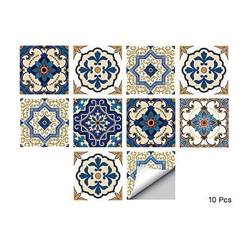 Alwayspon Piazza Vinile Piastrelle Adesivo, Autoadesivo della Parete delle Decalcomanie per Piastrelle per la Decorazione Domestica Soggiorno Cucina 20x20cm Marocchino