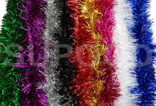 TINSEL - SHINY TINSEL FOR CHRISTMAS TREES AND DECORATION, 2M LONG, 11CM WIDE. AVAILABLE IN 9 COLOURS, RED, WHITE, BLUE, GOLD, SILVER, PINK, PURPLE, BLACK, GREEN (2M GOLD) by SUPGOD