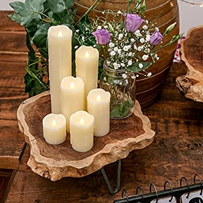 6 Battery Operated Flickering Warm White LED Wax Pillar Candles by Festive Lights from Festive Lights