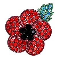 ZhongYe Red Poppy Flower Pin Badge Diamante Crystals Brooch for Remembrance Day (#1 red)