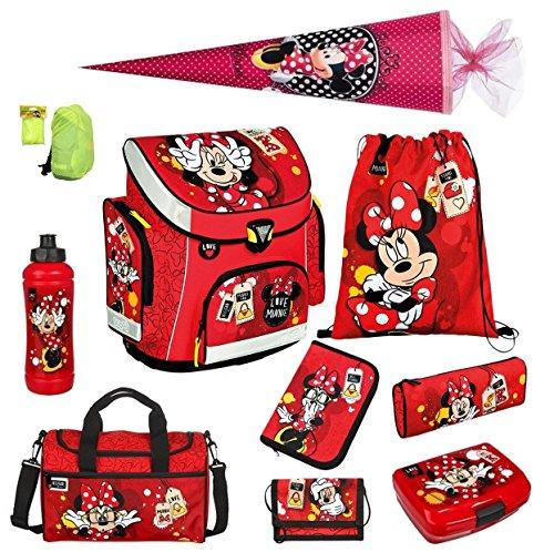 Minnie Mouse Schulranzen Set 10tlg. Schultüte, Sporttasche, Regen-/Sicherheitshülle Federmappe Scooli MINP8251