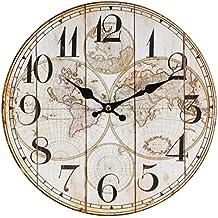 Perla PD Diseño reloj de pared Niños Reloj Vintage Diseño Mapamundi aprox. 28cm de diámetro