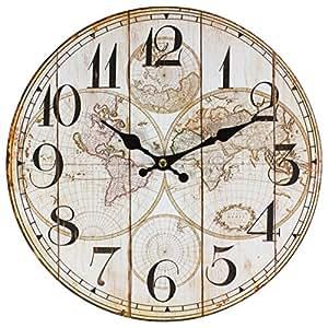 Perla PD Design Orologio da parete orologio per bambini design vintage Mappa del mondo: circa Ø 28cm