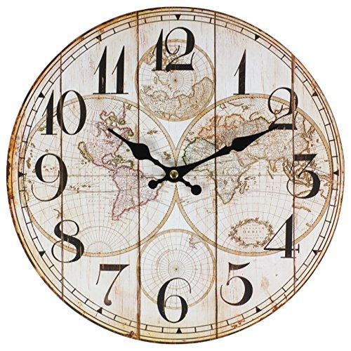 Perla PD Diseño reloj de pared Niños Reloj Vintage Diseño Mapamundi aprox....
