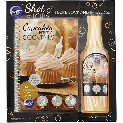 Wilton 8022-5705 Cupcakes sind My Cocktails Rezept Buch und Shot Top Geschmack Teesieb, Mehrfarbig, 13 Stück, Plastik, 1.19 x 14.83 x 21.51 cm,