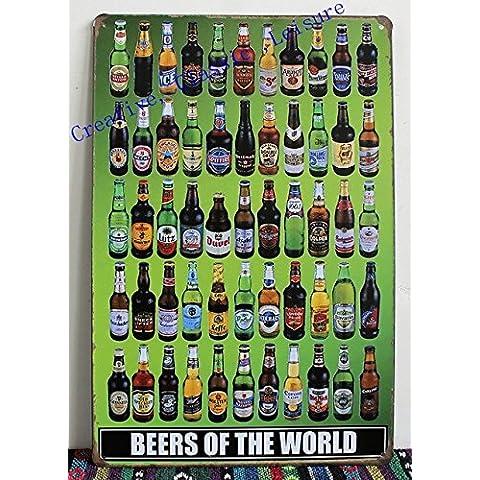 Birre di tutto il mondo segno di stagno parete metallica di arte , segno della birra per home bar pub decorazioni a parete , birra poster 30x20cm