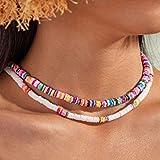 Fashband Boho Collar de gargantilla de arcilla suave Joyas de playa Collares de cuentas de concha de puka coloridos Cadena co