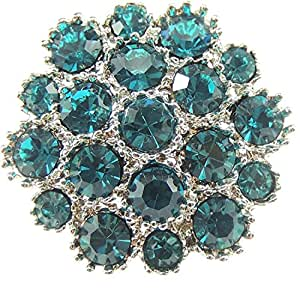 Glamour Girlz Ladies Sparkly Crystal 2.5cm Small Evening Brooch Gift Boxed Teal