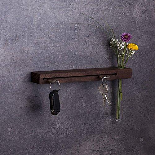 WOODS Schlüsselbrett Holz mit Blumenvase, 30cm - viele Varianten/Holzarten (in Bayern handgefertigt) Schlüsselhalter Nuss/Moderne Schlüsselleiste als Board Schlüssel-Aufhänger/Nussholz