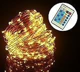 ALED LIGHT Catene Luminose, 20M 200LEDs Stringa Luci LED Natalizie (Livello di Luminosità 100, Rame Luce, Impermeabile IP65) per Uso Interno ed Esterno per Decorazioni Festive (bianco caldo)