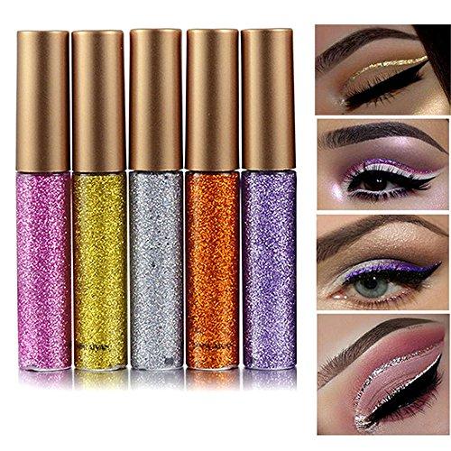 rechoo con purpurina Liquid Eyeliner 5pcs duradero resistente al agua brillante lápiz delineador de ojos sombra de ojos–5pcs-1