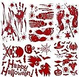 M MORCART Halloween Dekoration Aufkleber Stickers Set PVC Blutige Handabdrücke und Fußabdrücke Fledermäuse Kürbisse Geister Spinnen Schädel Kätzchen Hexen 62PCS Test